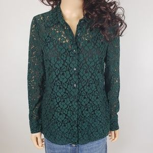 ✿❀ Charter Club Green Lace Button Down Shirt  ❀✿